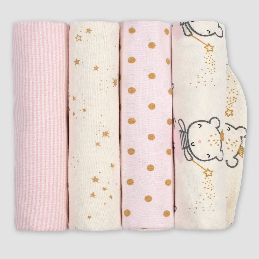Image of Gerber Baby Girls' 4pk Princess Flannel Receiving Blankets - Pink/Ivory