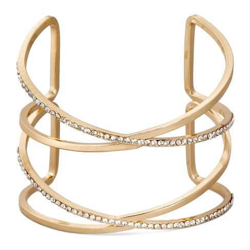 SUGARFIX by BaubleBar™ Double-Cross Crystal Cuff Bracelet - Clear Gold - image 1 of 1