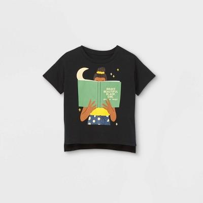 Black History Month Kids' 'Brave Beautiful Black Girl' Short Sleeve Graphic T-Shirt - Black