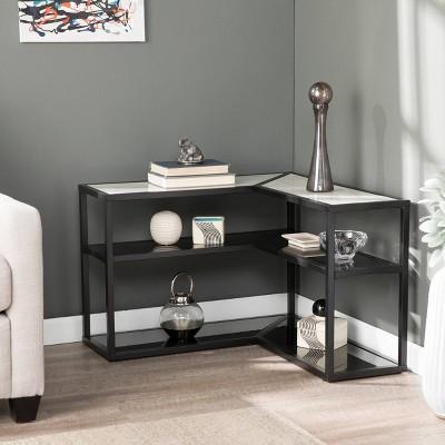 Droney Faux Marble Wraparound Table White/Black - Aiden Lane