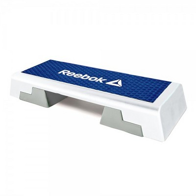 Reebok Adjustable Exercise Step Platform Home Gym Aerobic Workout Equipment with Guided Workout DVD, White/Blue