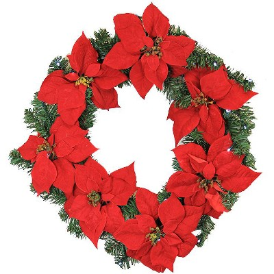 """LB International 22"""" Prelit LED Red Artificial Poinsettia Christmas Wreath - Clear Lights"""
