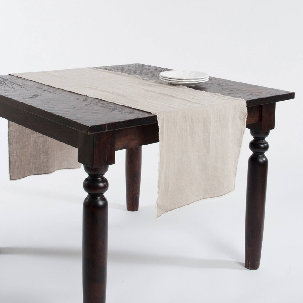 16 34 X72 34 Fringed Design Stone Washed Table Runner Natural Saro Lifestyle