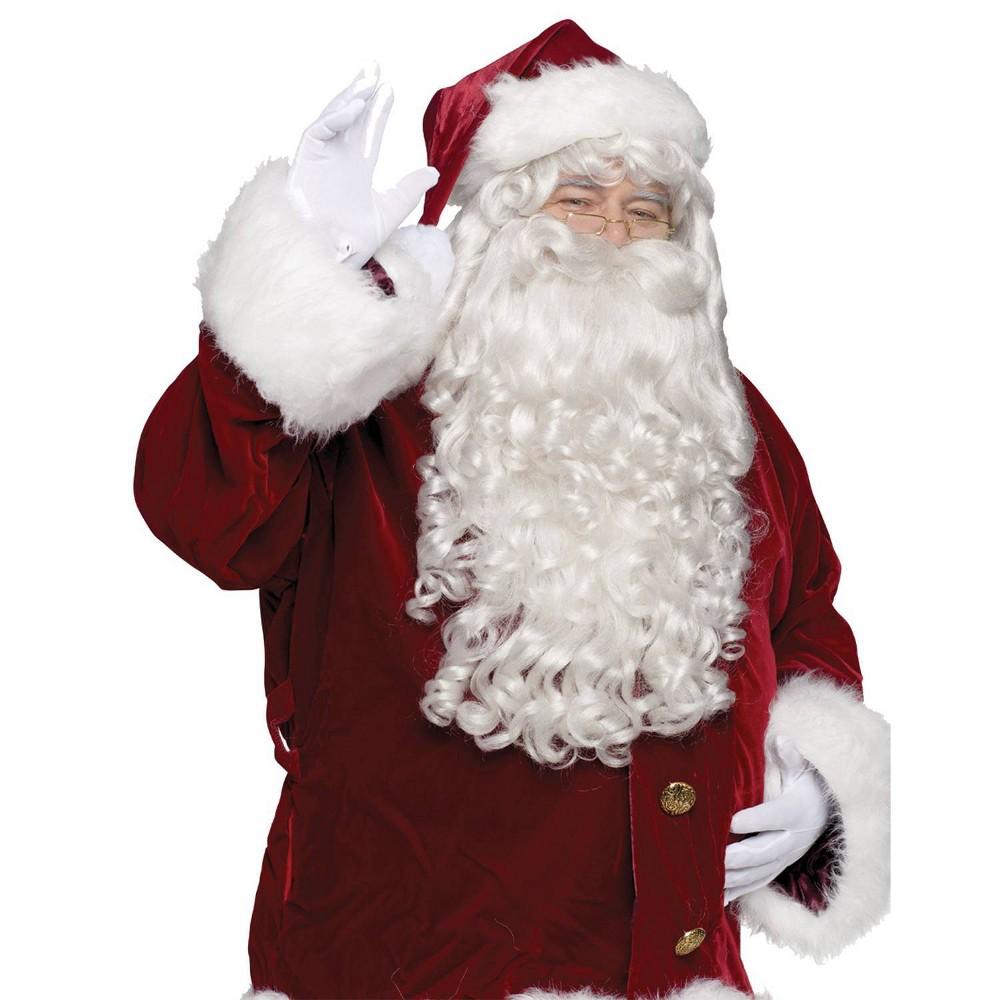 Image of Halloween Santa Super Deluxe Costume Wig And Beard, Men's, White