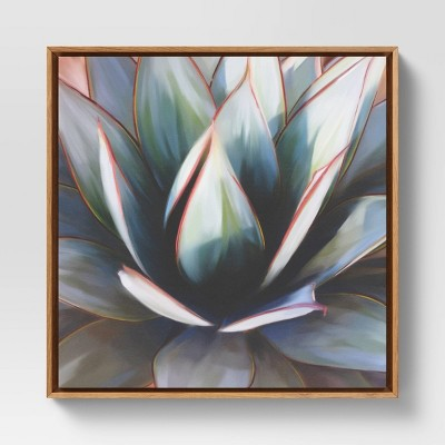 "24"" x 24"" Succulent Framed Decorative Wall Art Canvas Blue - Project 62™"