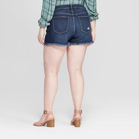 c4797dff1a5f6 Women s Plus Size Raw Hem Jean Shorts - Universal Thread™ Dark Wash ...
