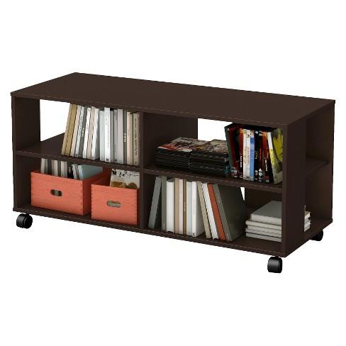 21 Dark Cherry Storage Bookcase On Casters