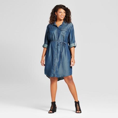 Women\'s Plus Size Denim Shirtdress - Ava & Viv™ : Target