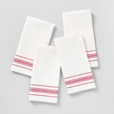 4pk Napkin Set Sour Cream with Red Embroidery - Hearth & Hand™ with Magnolia
