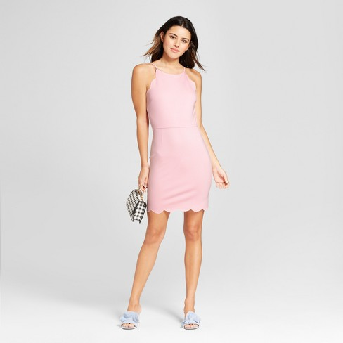 Women S Scalloped Bodycon Dress Necessary Objects Pink