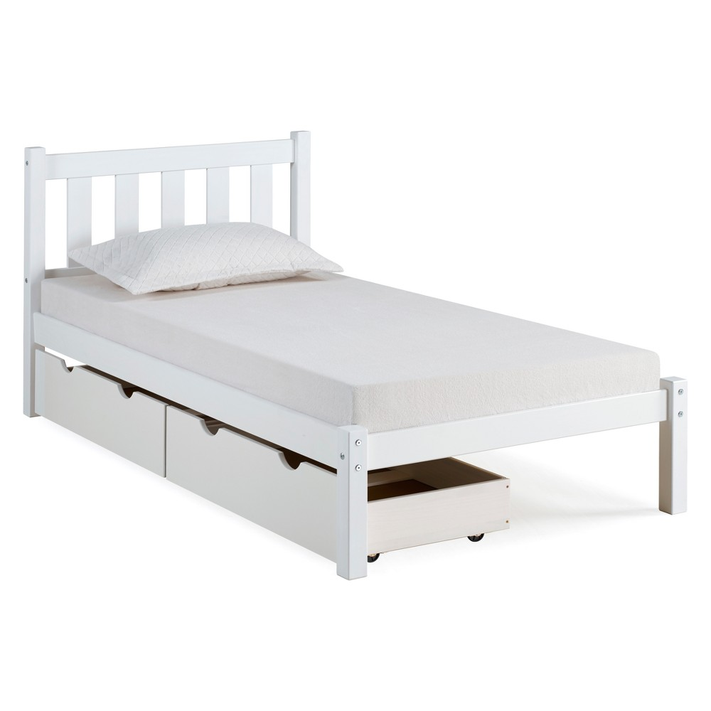 Poppy Twin Bed With Storage Drawers White - Bolton Furniture