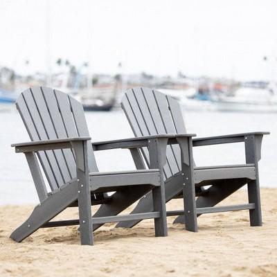 Hampton 2pk Outdoor Patio Adirondack Chair - Gray - LuXeo