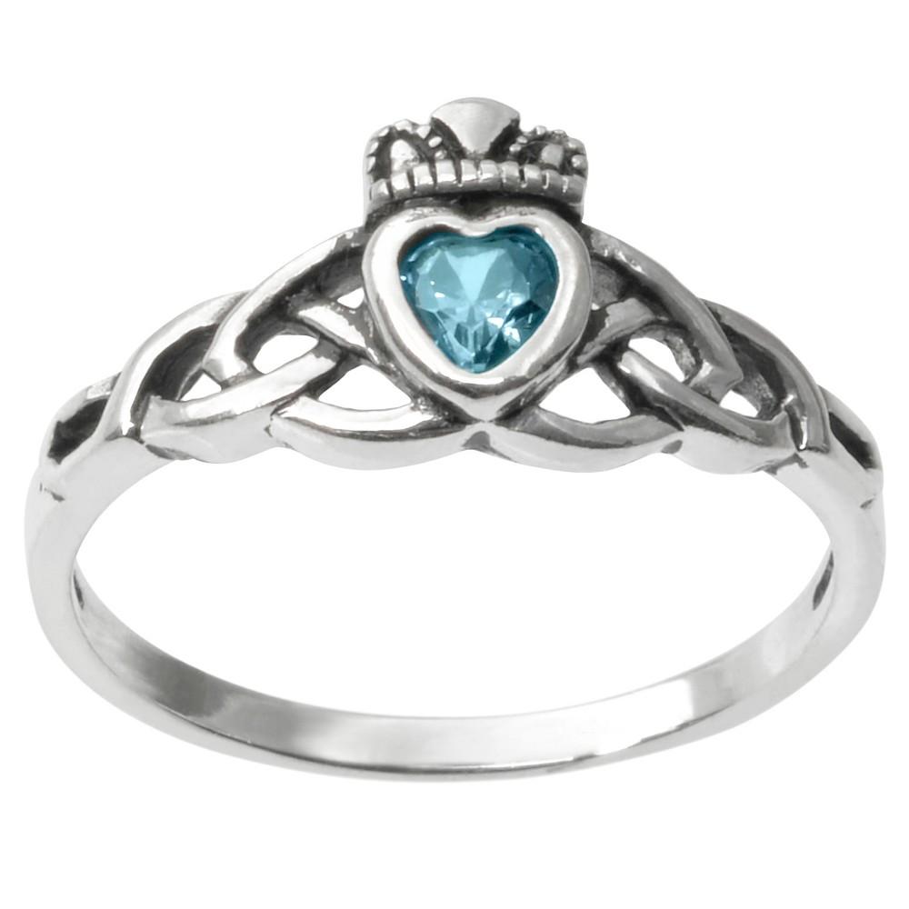 1/5 CT. T.W. Heart-cut CZ Bezel Set Celtic Ring in Sterling Silver - Aqua, 5, Girl's