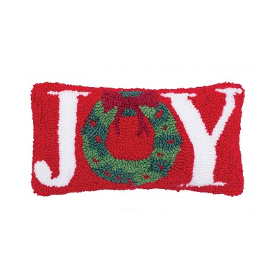"C&F Home 6"" x 12"" Joy Wreath Hooked Petite Pillow"