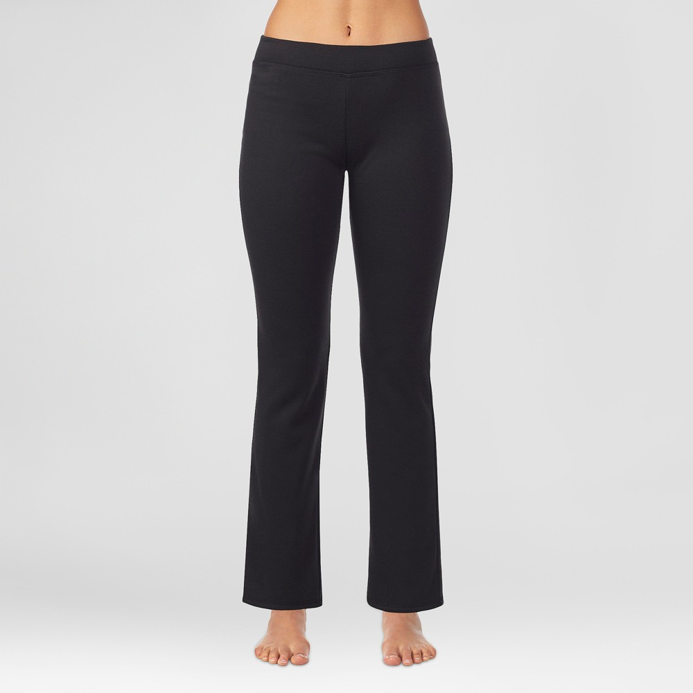 Warm Essentials by Cuddl Duds Women's Luxe Lined Jersey Thermal Boot Cut Lounge Pants - Black M