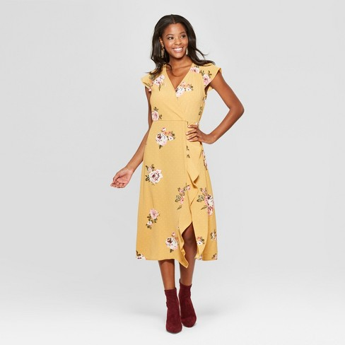 fd8b6c96a97393 Women s Floral Print Short Sleeve Wrap Ruffle Midi Dress - Xhilaration™