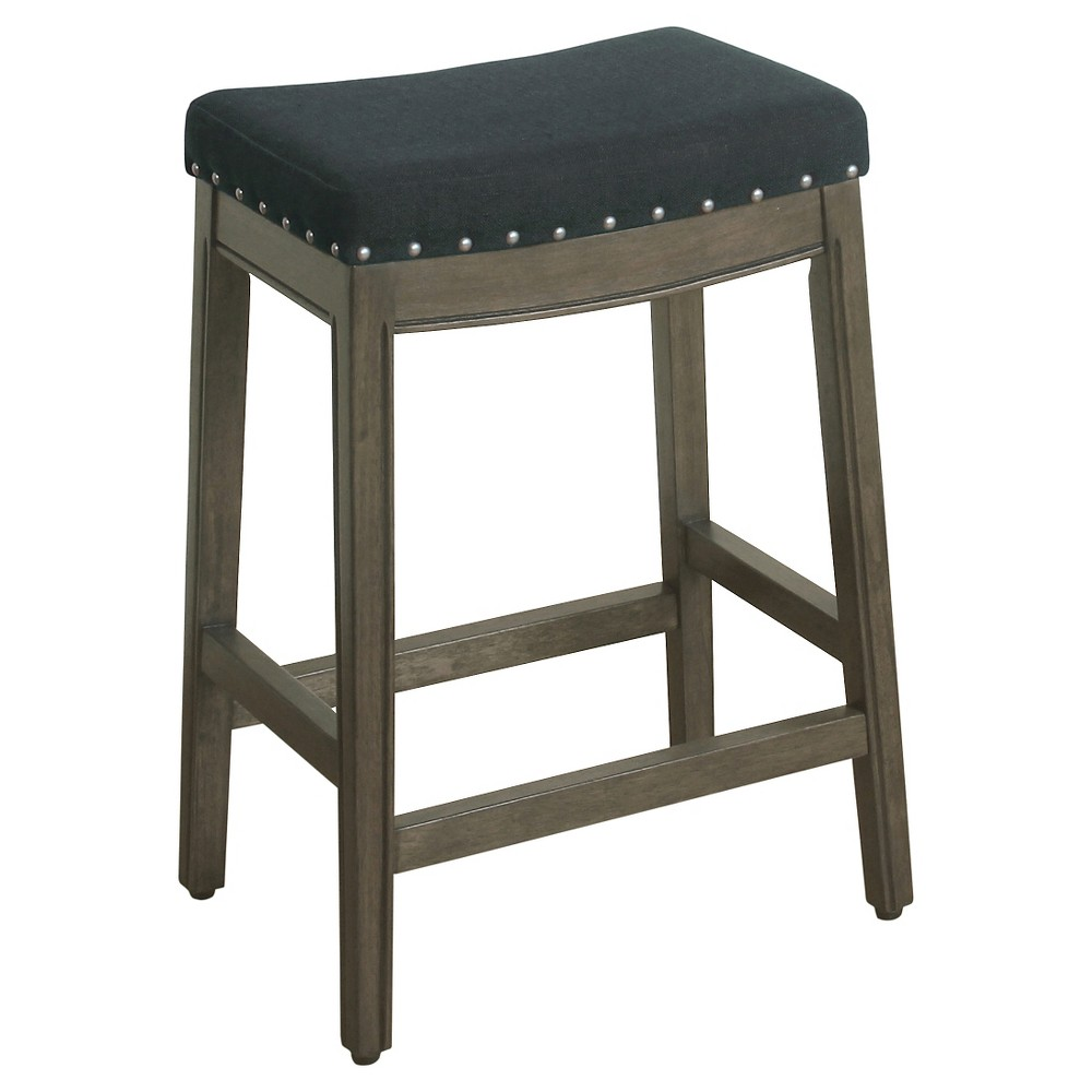 """Image of """"Blake 24"""""""" Backless Counter Stool with Nailheads - Navy - HomePop, Blue"""""""