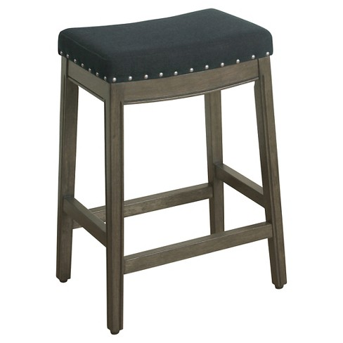 """Blake Backless Counter Stool with Nailheads - 24""""- HomePop - image 1 of 4"""