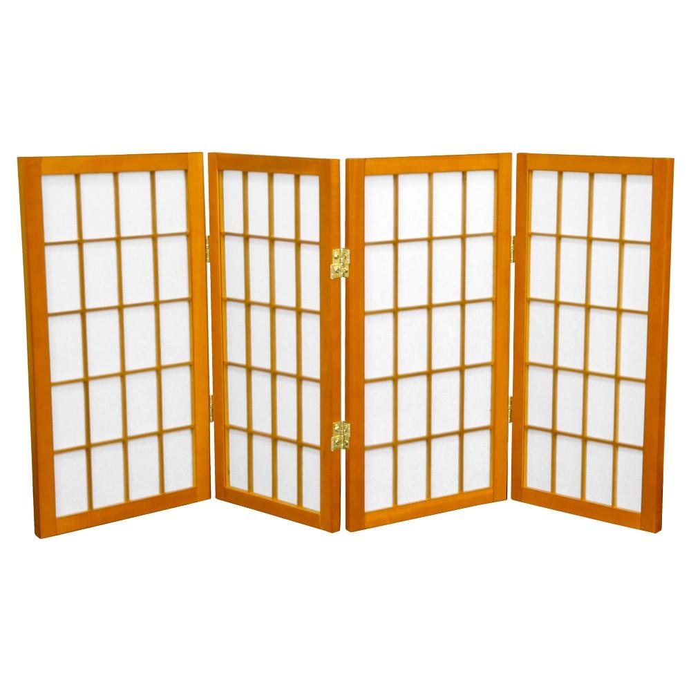 2 ft. Tall Desktop Window Pane Shoji Screen - Honey (4 Panels) - Oriental Furniture, Pumpkin