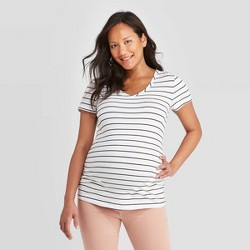 Maternity Striped Short Sleeve V-Neck Side Shirred T-Shirt - Isabel Maternity by Ingrid & Isabel™ White/Black