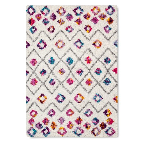 Machine Made Boho Diamond Shag Rug - image 1 of 2