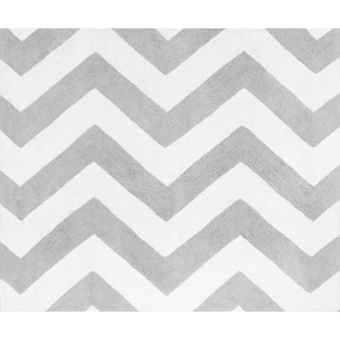 Sweet Jojo Designs Gray White Chevron Zigzag Floor Rug