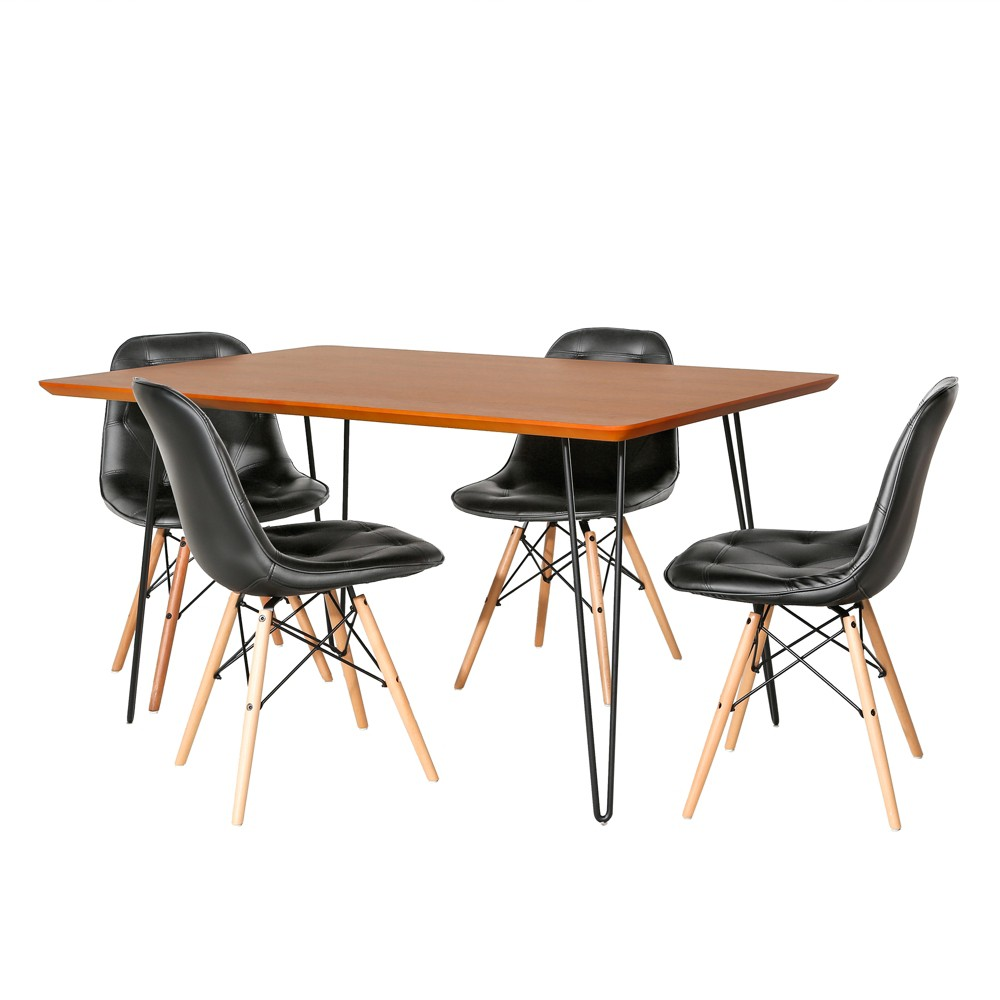 5pc Square Hairpin Dining Set With Eames Chairs Walnut/Black (Brown/Black) - Saracina Home