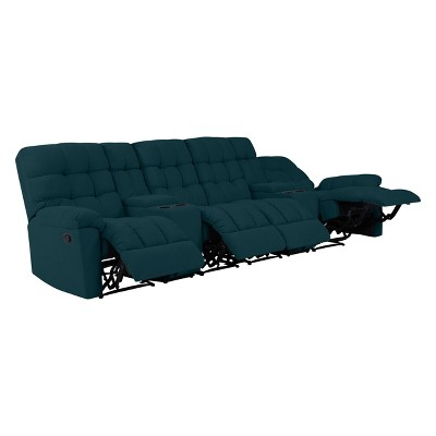 Alma 4 Seat Tufted Wall Hugger Recliner Sofa with Power Storage Console Plush Low Pile Velour Peacock Blue - ProLounger