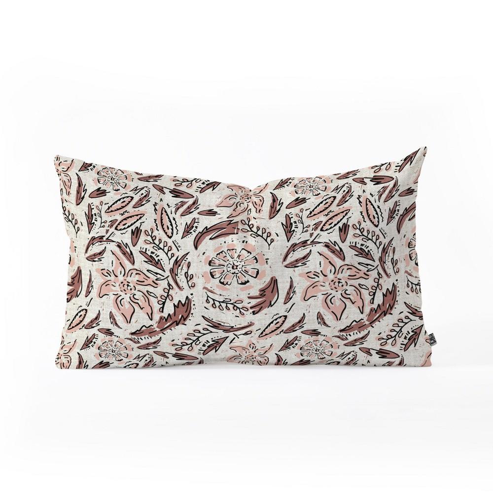 Holli Zollinger Floral Lumbar Throw Pillow Beige/Pink - Deny Designs