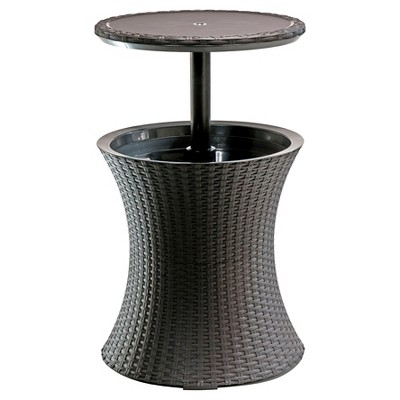 Pacific Cool Bar Rattan Style Patio Beverage Cooler Bar Table - Brown - Keter