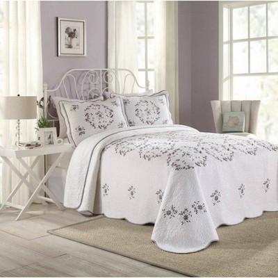 Modern Heirloom Gwen Bedspread White/Lavender