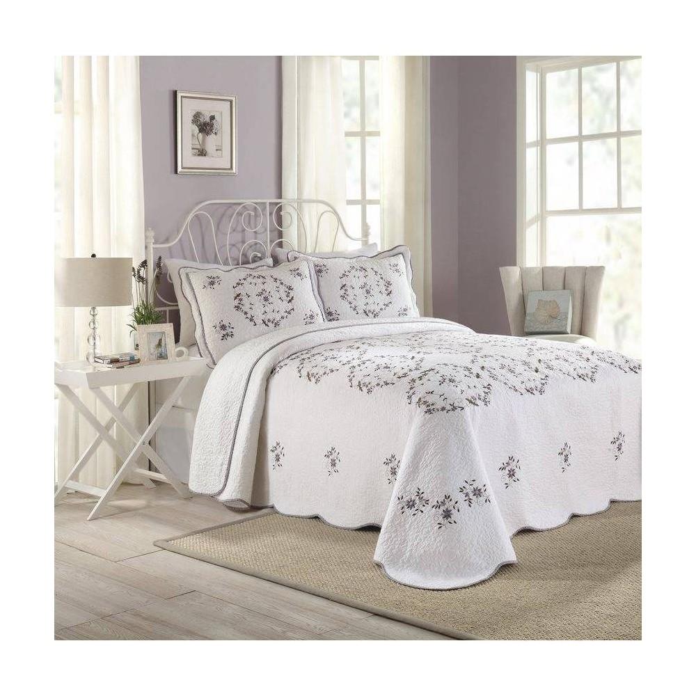 Modern Heirloom Gwen Bedspread White Lavender