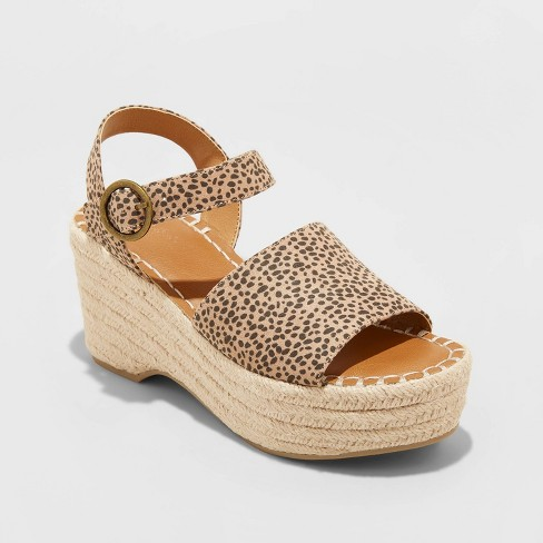 Women's Morgan Microsuede Leopard Print Two Piece Espadrille Wedge Pumps - Universal Thread™ Brown 5.5 - image 1 of 3