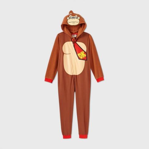 Boys' Nintendo Donkey Kong Blanket Sleeper Union Suit - Brown - image 1 of 2
