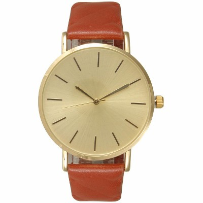 Olivia Pratt Quilted Detail Leather Strap Watch