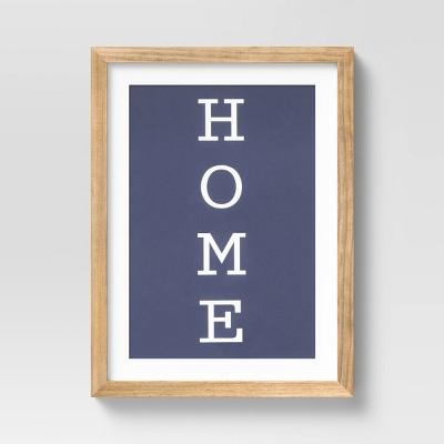 "12"" x 16"" Framed ""HOME"" Decorative Wall Art White/Navy - Threshold™"