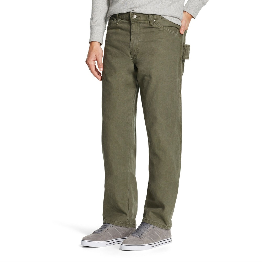 Dickies Men's Relaxed Straight Fit Sanded Duck Canvas Carpenter Jeans - Moss (Green) 34x34