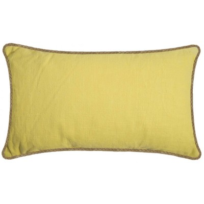 Oversized Lumbar Linen Pillow with Jute Trim Yellow - Threshold™