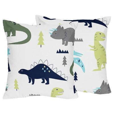 Blue & Green Mod Dinosaur Throw Pillow - Sweet Jojo Designs