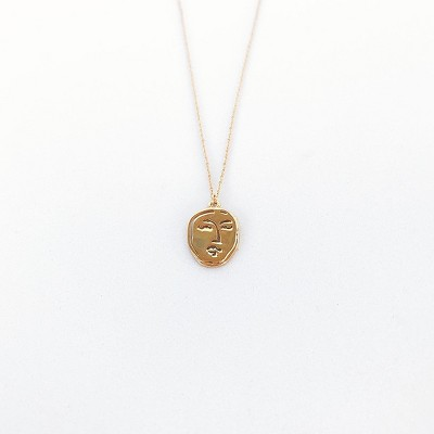 Sanctuary Project Dainty Modern Art Face Charm Necklace Gold