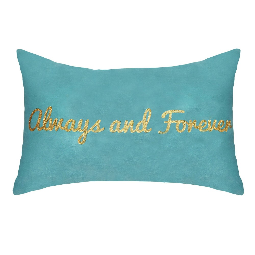 "Image of ""14""""x22"""" Celebrations """"Always and Forever"""" Metallic Velvet Lumbar Pillow Mineral Blue - Edie@Home"""