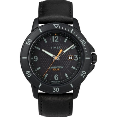 Men's Timex Expedition Solar Watch with Leather Strap - Black TW4B14700JT