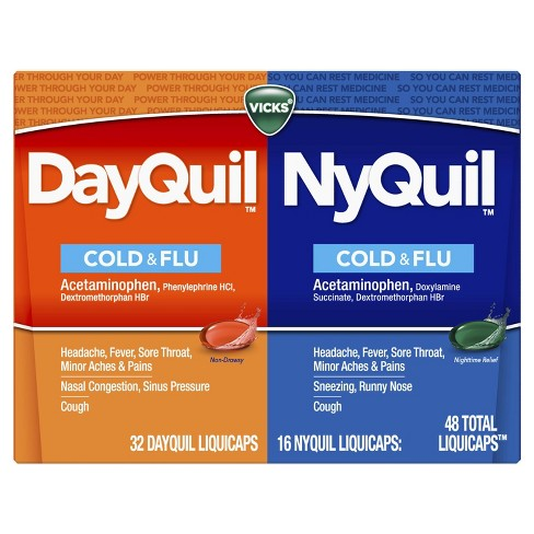 Vicks DayQuil and NyQuil Cold & Flu Multi-Symptom Relief LiquiCaps - Acetaminophen - 48ct - image 1 of 4