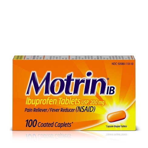 Motrin IB Pain Reliever & Fever Reducer Tablets - Ibuprofen (NSAID) - 100ct - image 1 of 4
