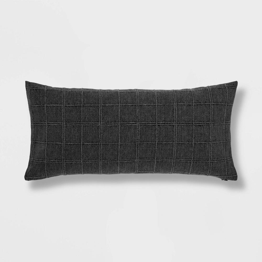 Oversized Woven Washed Windowpane Lumbar Pillow Dark Gray Threshold 8482