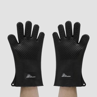 Silicone BBQ Grill Gloves Black - BBQ Dragon