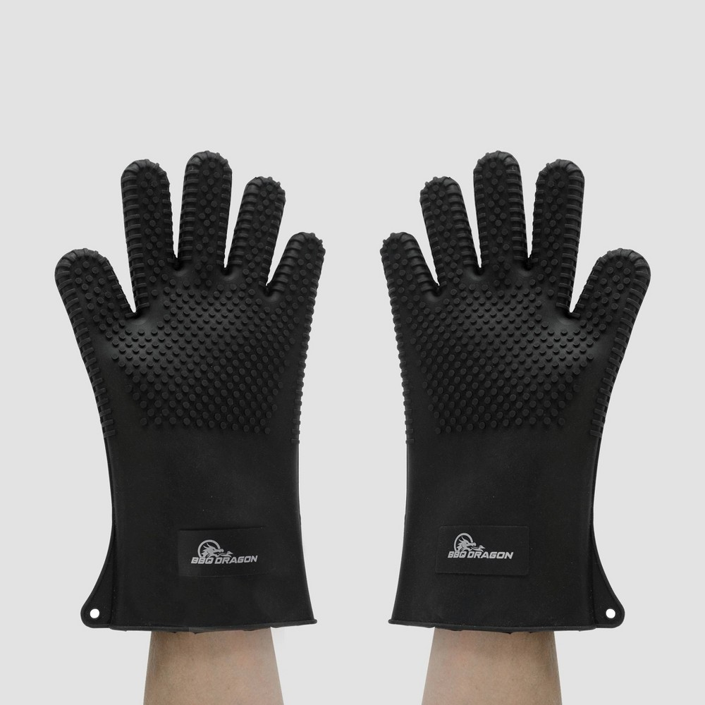 Image of Silicone BBQ Grill Gloves Black - BBQ Dragon