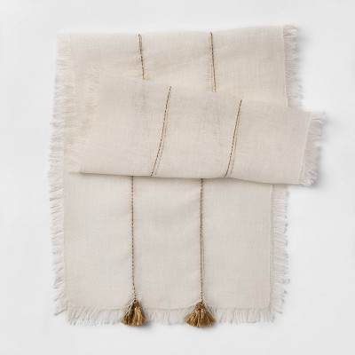 72 x14  Woven Table Runner with Tassels Ivory - Opalhouse™