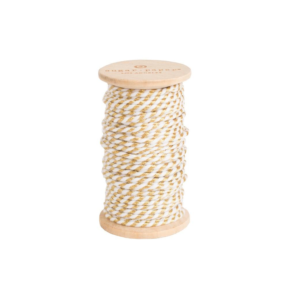 Decorative Ribbon Gold/ White - Sugar Paper