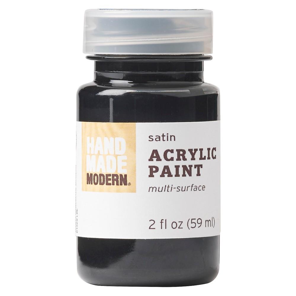 Image of 2oz Satin Acrylic Paint - Coal Hand Made Modern , Grey
